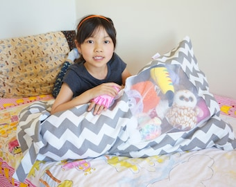 Custom made Stuffed Animal Bean Bag with Visible Window, Easy-to-find toys inside, Visible Bean Bag Chair (no stuffed animals included)