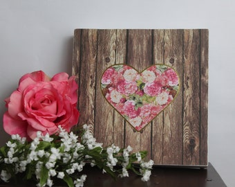 Heart,Framed Wall Art,Flower Wall Art,Rustic Wood Sign,Wood Wall Art,Framed Quote,Birthday Gift Her,Gift For Women,Mothers Day Gift,Wood Art