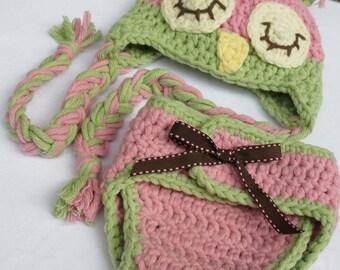 Baby Girl- Crochet Owl Hat Diaper Cover Set - Photo Prop - Ear Flapper - Winking or Sleepy