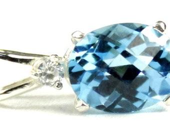 Swiss Blue Topaz, 925 Sterling Silver Pendant, SP020
