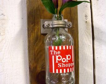 Vintage Pop Shoppe Bottle Wall Organizer Plaque- Medium Stained Wood