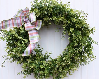Boxwood Wreath, Spring Wreath, Front Door Wreath, Farmhouse Decor, Greenery Wreath, Door Wreath, Outdoor Wreath, Green Wreath, Wreaths