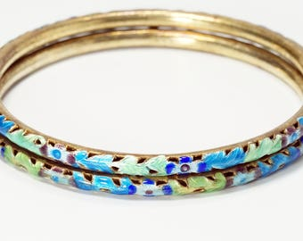 Bangles, Cloisonne Jewelry, Chinese Jewelry, Chinese Export, Vintage Chinese Silver Gilt Blue Green Cloisonne Enamel Bangles Bracelets