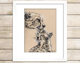 Cheetah Mom and Cub Art Print, Cheetah Drawing, Cheetah Art, Ready to Frame, Unframed Art Print, Wildlife Art, Animal Drawing, Nursery Art