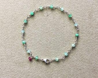 Chyrsoprase, Ruby Bracelet, Argentium Sterling Silver Beaded Rosary Chain Bracelet, Green Gemstones, Meditation Bracelet, Yoga gift