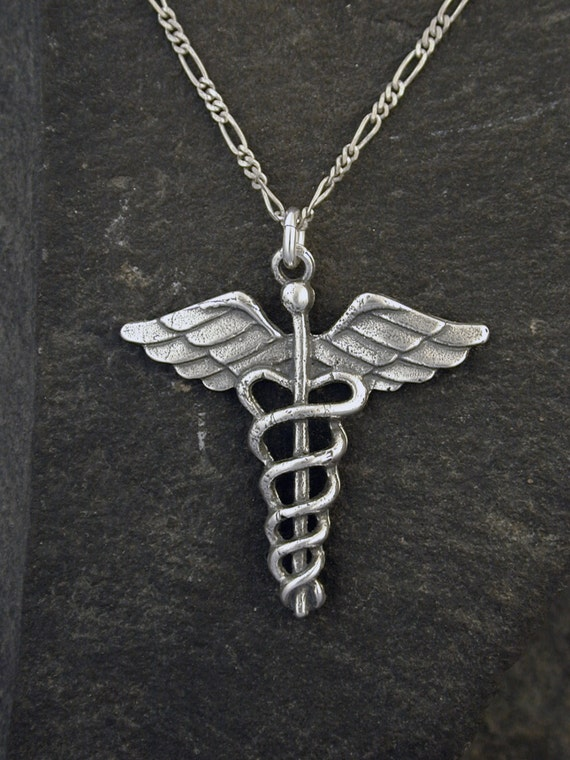 Sterling silver staff of hermes caduceus pendant on a like this item mozeypictures Image collections