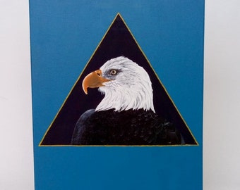 1 Realistic painting eagle bird animal mixed media acrylic and original modern contemporary oil 40x30 canvas