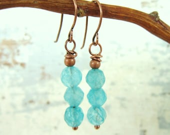 Aquamarine Jade Dangle Earrings. Faceted Jade Drop Earrings. Jade Jewelry. Jewelry Gift Set. Turquoise Jewelry