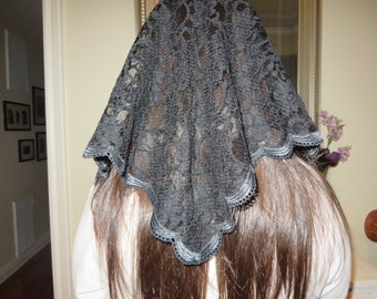 CUSTOM Lace Mantilla Made to Order with Choice of Color, Trimming and Size