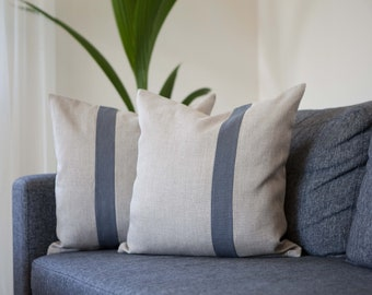 Color block pillows set of 2, Gray line accent cushion cover from pure linen fabric for couch pillows collection