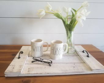 Farmhouse Serving Tray   Wood Tray   Distressed White Serving Tray   Decorative Tray   Rustic Tray