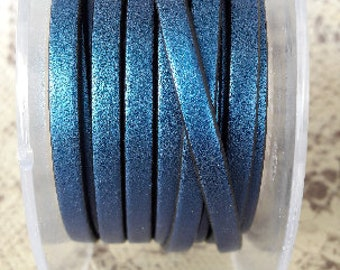 Blue metal 5 mm flat leather European quality