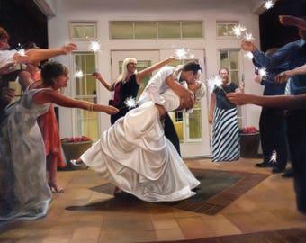 Custom Painting - CUSTOM WEDDING PORTRAIT - Wedding art - Oil Painting - Gift for Bride and Groom - Anniversary Gift