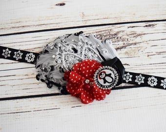 Handcrafted 1920s Inspired Fancy Penguin Headband - Black White Red and Silver Headband - Feather Baby Headpiece -Penguin Birthday Accessory