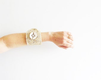 Beige Cuff with Silver and Gold Spots Sparkling Crochet  Bracelet   Cuff Wristlet Textile Jewelry