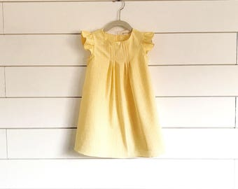 Yellow gingham dress, yellow baby dress, yellow toddler dress yellow girls dress gingham girls dress, girls easter dress, baby easter dress