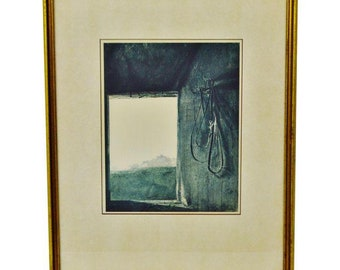 """Vintage Framed Andrew Wyeth Print """"Burning Off"""" Collection of Mr. & Mrs. Norman Woolworth"""