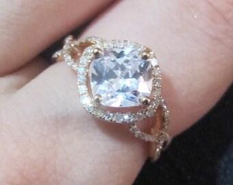 Cushion Cut Moissanite Engagement Ring Setting, Forever One Moissanite Ring, 2 Carat Engagement Ring, Cushion Cut Ring Setting