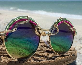 RAiNBOW Round, Copper Wire Wrapped, Sunglasses Women, Summer Sunnies, Boho, Hippie, Hippy, Bohemian, Sun glasses, Eyewear, Eyeglasses, NEW