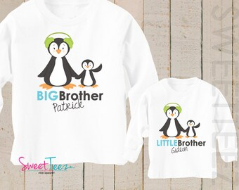 Big Brother Penguin Shirt SET Little Brother Winter Snow Sibling Personalized Big Sister Big Brother Shirts bodysuit SET