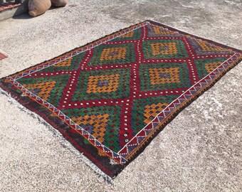 "Geometric rug, Embroidered Kilim rug, 105"" X 71.5"", Vintage Turkish kilim rug, area rug, kilim rug, kelim, vintage rug, bohemian rug, 157"