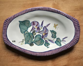 Morning Glory Purple Plate for Kitchen Use or Display