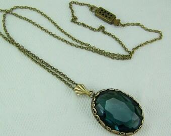 Montana Blue Necklace, Oval Set Glass Necklace, London Blue Necklace, Flower Set Crystal Necklace, December Birthstone, Montana Blue,Montana