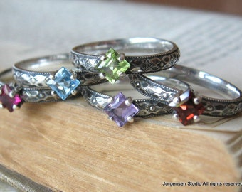 Birthstone Stacking Ring Set Gemstone Mothers Rings Stackable Rings Square Princess Cut Set of Three Sterling Silver Gemstone Stacking Rings