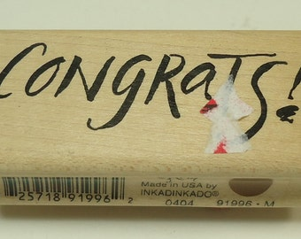 Congrats Wood Mounted Rubber Stamp By Inkadinkado New Job, New House, Graduation, Engagement, Birth, Anniversary, Promotion,