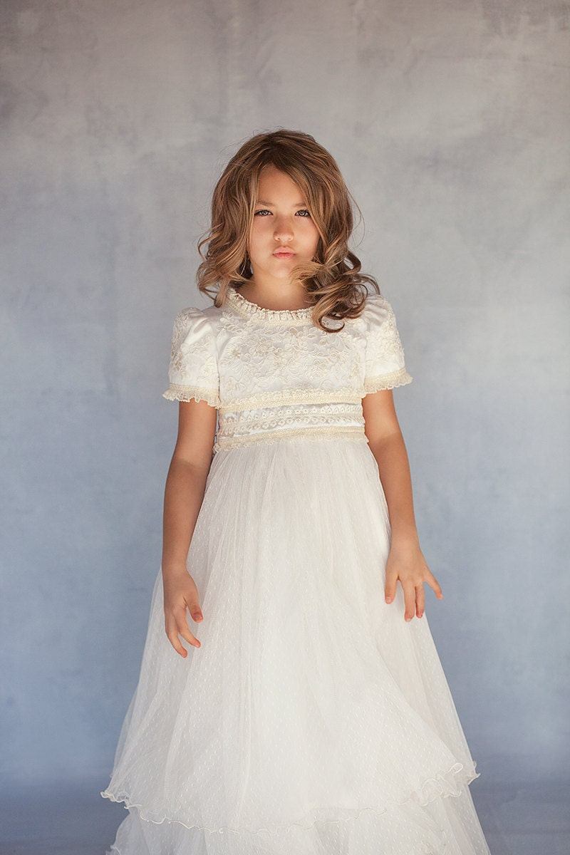 Lace couture dress flower girl dress junior bridesmaid zoom ombrellifo Image collections