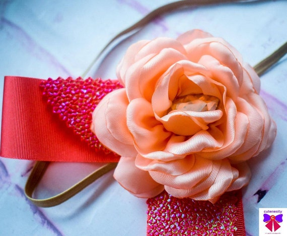 Pretty Peach Flower and Coral Ribbon Headband - Baby / Toddler, Girls, Kids Hairband / Hair bow / newborn photo/ birthday / wedding