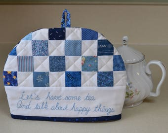 Cotton Patchwork Quilted Tea Cosy, Country Tea Cozy, Blue White Kitchen, Tea Party Decor