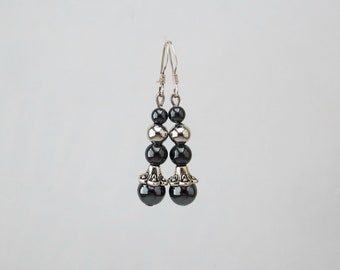 Jewelry-earrings natural stone-Hematite gemstones
