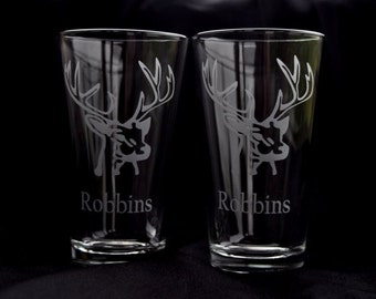 Pair of Etched Deer Buck  Hiball Tumblers - by Jackglass on Etsy