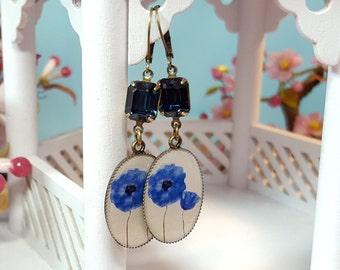 Blue Poppy Earrings, Blue Flower Earrings, Navy Blue Rhinestones, Dark Blue Earrings, Florist Gift, Long Floral Crystal Dangle Drops, E3907