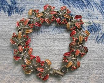 1950s Jewelcraft pink & coral enamelled leaf and berries bracelet, signed