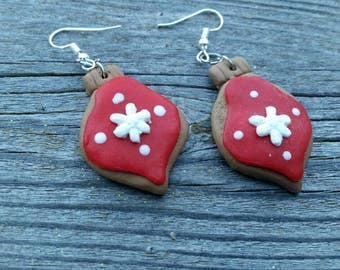 Red Snowflake Clay Cookie Christmas Ornament Charm Earrings - Holiday Jewelry - Womens Gifts