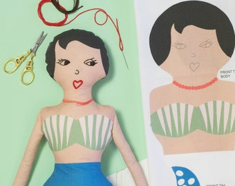 Craft Kit - Sew Your Own Mermaid - Craft Kit for Girls - Make Your Own Mermaid - Beginner Craft Kit - Mermaid Sewing Pattern - Soft Toys