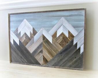 Art Reclaimed Wood |  Wood Decor Salvaged | Wood Wall Art | Mountain Wood Art | Home Decor Wood | Reclaimed Wood Decor | Wood Decor Rustic