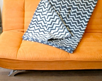 Wool Blanket Contemporary Chevron Design in Charcoal Gray & White