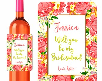 Custom Wine Labels Will You Be My Bridesmaid Personalized Stickers Coral Yellow and Green Flower Design - Waterproof Vinyl 3.5 x 5 inch