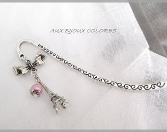 Bookmark Eiffel Tower silver plated beads