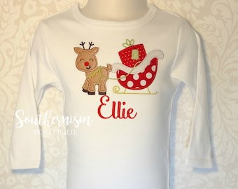 Christmas Shirt, Reindeer Shirt, Sleigh Shirt, present shirt, Monogram Christmas Shirt, Santa Belt Christmas shirt, Initial Christmas