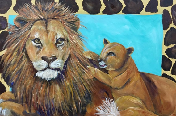 Lion and Lion Cub Painting | Lion and Baby Acrylic Painting