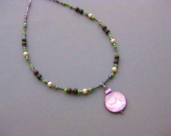 CLEARANCE, Necklace beaded with purple Pendant,...was 32...NOW 15, NB 1051