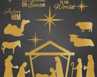 Nativity Silhouette Clip Art Christmas in Gold for Personal and Commercial Use