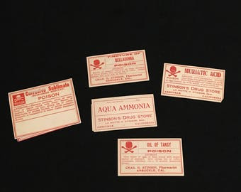Group of Antique Poison Labels from California Druggist, Five (5) Original Labels from Stinson's Drug Store, Skull & Cross-Bones