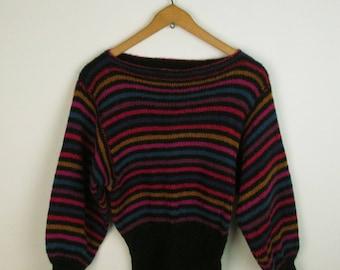 Vintage 70s Striped Sweater Wide Sleeve Hippie Sweater Indie Retro 1980s Jumper Sz M