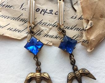 Bird earrings,bird charm jewelry, blue bird earrings, dangle drop earrings, spring style, brass bird jewelry, swallow bird jewelry