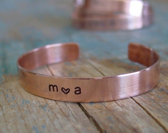 Custom Cuff Bracelet, Couple Initials, Date Bracelet, Love Heart Jewelry, 7th Anniversary Gift, Wife Copper Anniversary Gift,Girlfriend Gift